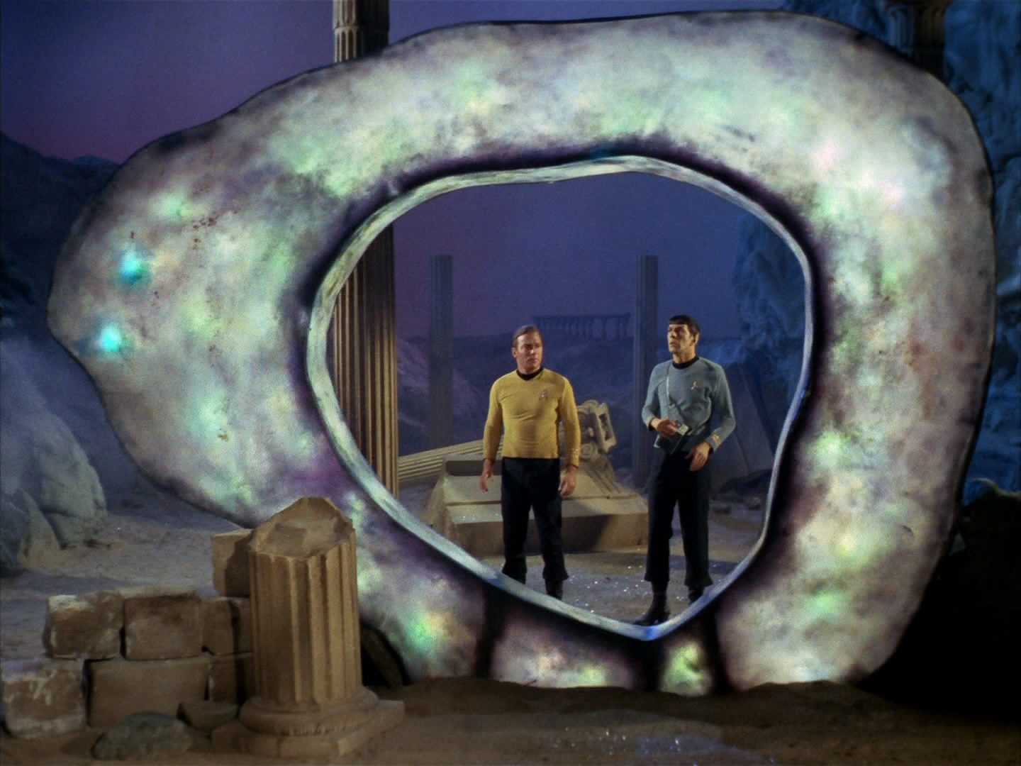 """Kirk and Spock in """"The City on the Edge of Forever"""" by the incomparable Harlan Ellison"""